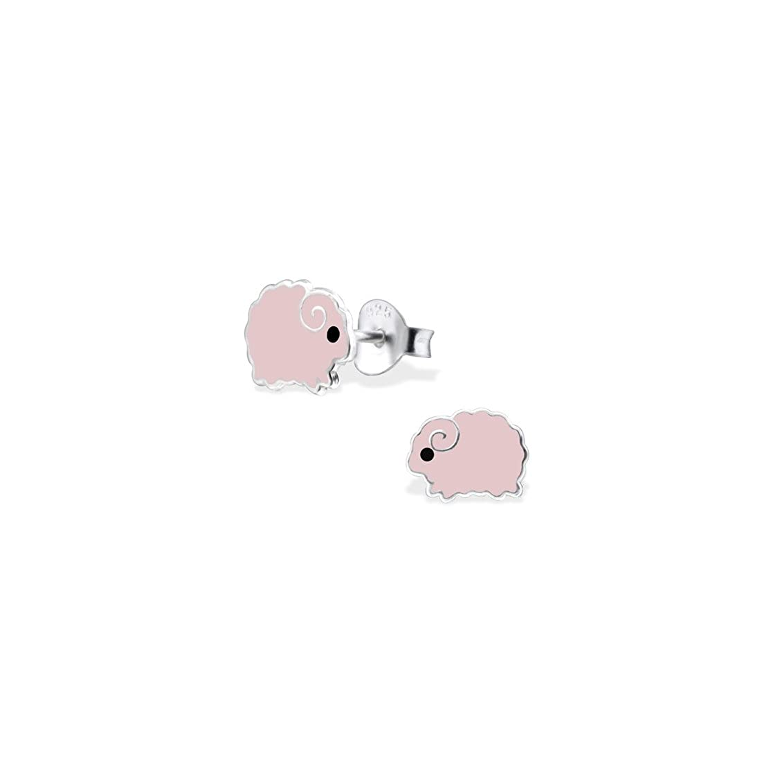 Girls Sheep Colorful Ear Studs 925 Sterling Silver