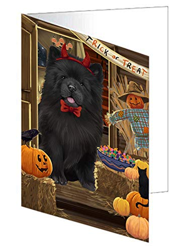 Enter at Own Risk Trick or Treat Halloween Chow Chow Dog Greeting Card GCD63290 (20)]()