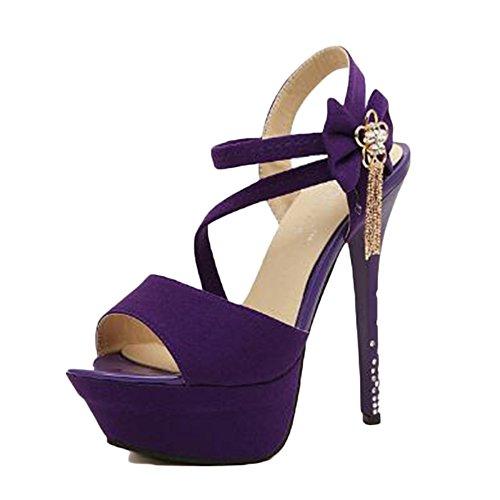 DE Mujer Tobillo Sandalias Zapatos para Club Finas 14cm Toe Alto Piedras Talon Correa con Flores Morado De Sexy Nocturno De Party Peep AfXqxt