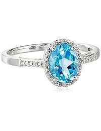 10K White Gold Oval Blue Topaz and Diamond-Framed Ring, Size 7