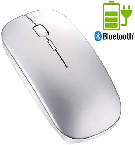 Portable Rechargeable Wireless Bluetooth Mouse - Tsmine Mini Laser Gaming Mouse Mute Type Wireless Optical Mice Ergonomic Mouse for MacBook,Laptop,PC,Tablet(Not for iPad and iPhone) - Space Gray