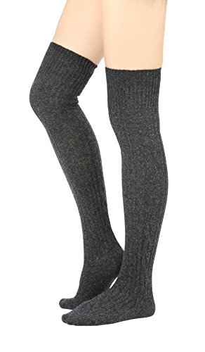 Blend Knee Socks - STYLEGAGA Winter Wool Cable Knit Over The Knee High Socks (One Size: XS to M, Wool Cable_Dark Gray)