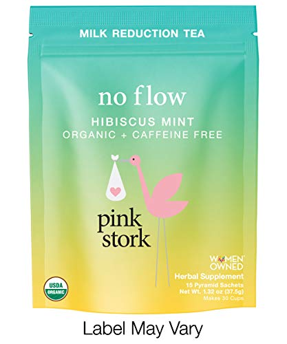 Pink Stork No Flow: Hibiscus Mint Tea, USDA Organic Loose Leaf in Biodegradable Sachets for Reducing Breast Milk Flow and Supply -30 Cups, Caffeine Free, Non-GMO (Best Tea For Milk Tea)