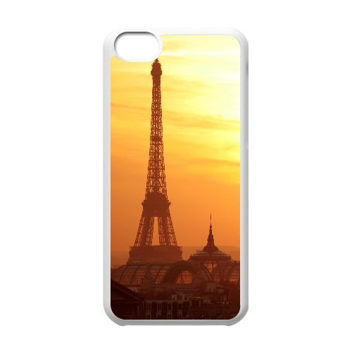 Yearinspace eiffel tower at sunset 2 iPhone 5C Cases, Shock Absorb Case For Iphone 5c For Boys {White}
