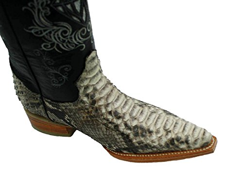 Men's Snip Toe Genuine Python Skin Leather Cowboy Western Boots_Natural_9.5 White