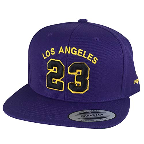 Custom Embroidered Snapback Hat Los Angeles Jersey #23 Baseball Cap - Purple Black Gold