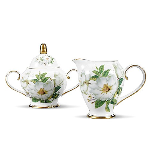NDHT Bone China Ceramic Sugar and Creamer Serving Set with Milk Jug and Sugar Pot for Coffee and Tea,White and Green