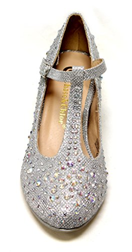 hidden Silver Bobby amp; shoes toe strap round 7A T bead Womens pump heel Chase glitter upper rhinestone Chloe qwXSExwT