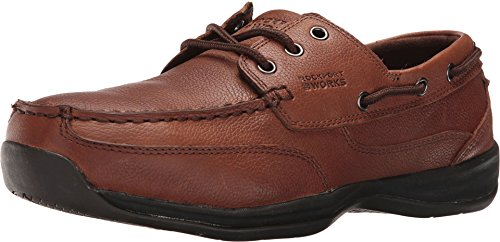 Rockport Mens Dark Brown Leather Boat Shoes Sailing Club Steel Toe 10.5 M