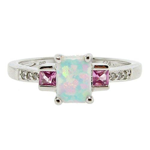 (Lavari - .40 cttw 7x5MM White Opal Pink Sapphire Diamond Sterling Silver Ring Sz 7)