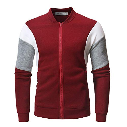 Mens Slim Kintted Long Sleeve Turtleneck Pinstriped Pullover Sweaters(Red-XXX-Large)