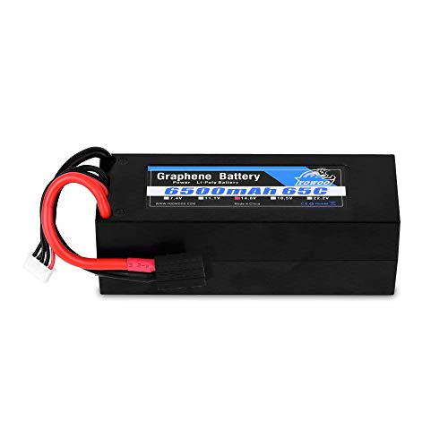 Yowoo 4s Graphene lipo Battery, 14.8v 6500mah lipo Battery Hard case 65C TRX Plug for 1/8 Scale Electric RC Buggy Truggy Crawler Monster Off-Road Car Boat Truck Roar Approved Traxxas Slash 4X4