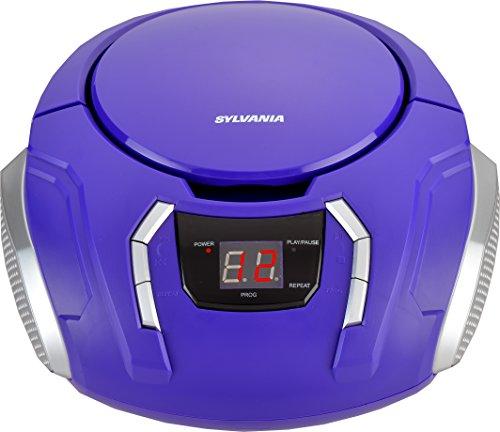 Sylvania Portable CD Boombox with AM/FM Radio (Purple) (Player Purple Boombox Cd)
