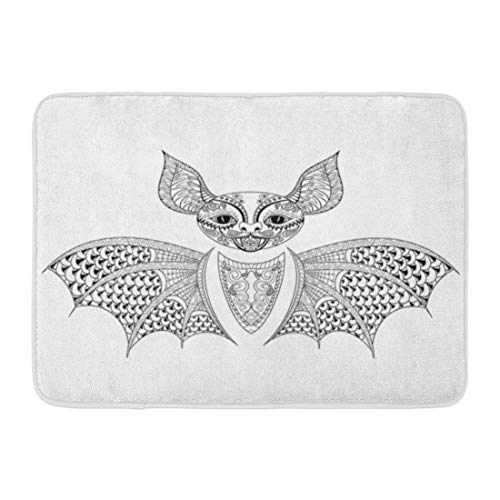 Emvency Doormats Bath Rugs Outdoor/Indoor Door Mat Zentangle Bat Totem for Adult Anti Stress Coloring Page Therapy Tribal in Doodle Monochrome Sketch High Bathroom Decor Rug Bath Mat 16