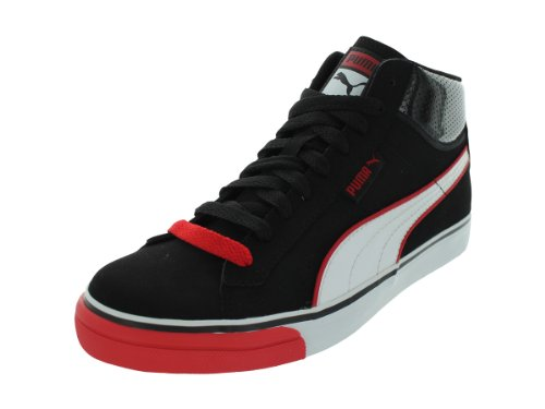 Puma Men's Mid Vulc Black/White/High Risk Red Casual Shoes 13 Men US