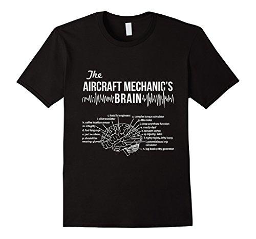 Men's Aircraft Mechanic's Brain - Aircraft Mechanic T-shirt Medium Black