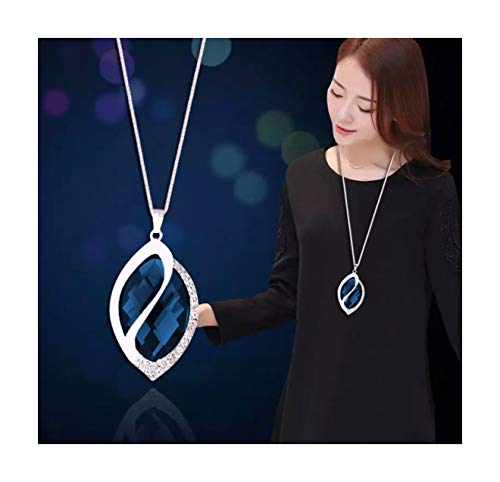 Nataliya Drop Pendant Long Necklace (Blue Crystal Oval Pendant - Oval Blue Pendant
