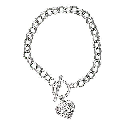 Montana Silversmiths Swept Away Heart Charm Bracelet, 7.5