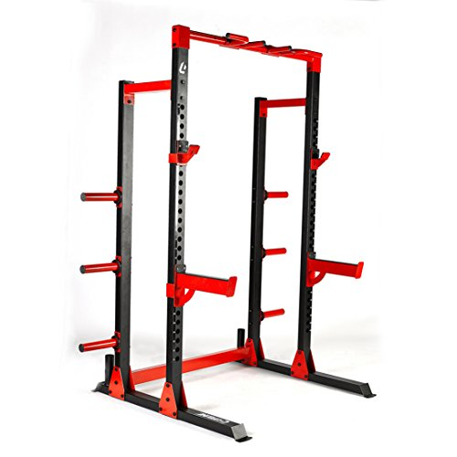 "Lifeline C1 Pro Half Rack – 1,000lb rated, 2""x3"" 11-Gauge Heavy Grade Steel, Numbered Uprights, Multi-Grip Pullup, Plate Storage Posts, Bar Holders, Reinforced Spotter Arms and J-Hooks"