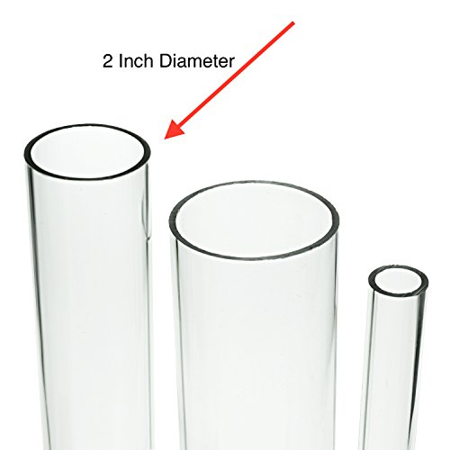 Source One Deluxe Clear Acrylic Tube 2 Inches Thick (12 Inch, 2 Inch Wide)