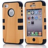 Caka Hard Wood Silicone Design Hybrid Case For Apple iPhone4 4S 4G - Black