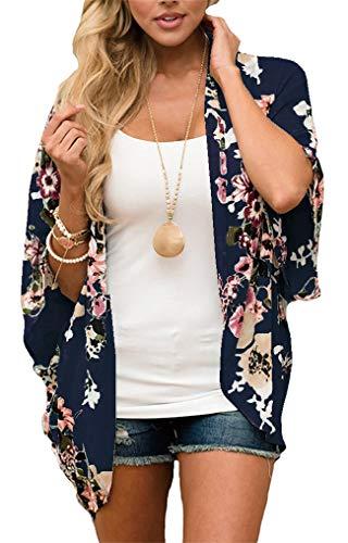 GSVIBK Womens Floral Print Kimono Loose Lace Chiffon Cardigan 3/4 Puff Sleeve Lace Patchwork Cardigans 216 Navy 2XL