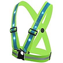 ShineU LED Reflective Safety Vest USB Charging Elastic Straps Adjustable Size Fit Women Men Kids Flashlight Warning For Outdoor Sport Running Cycling - Led Glowing Suspenders Reflective Running Gear