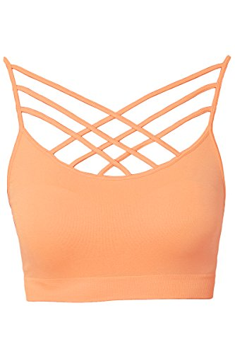 - TheMogan Women's Sleeveless Cage Bustier Crop Top Strappy Bralette Peach L/XL