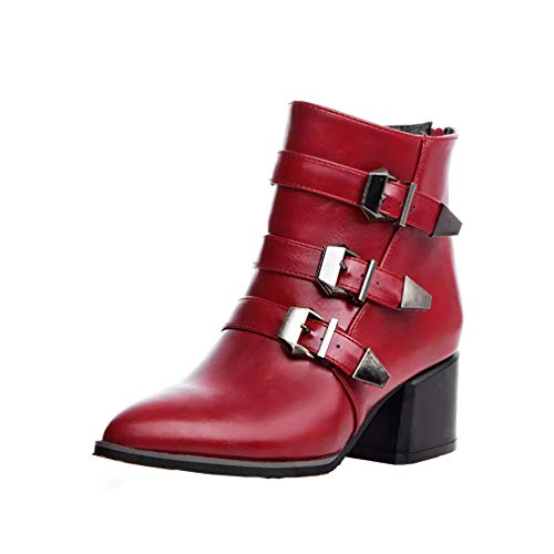 Red Toe 6CM 2 Block Pointed Women UK Zipper Vaneel vaxzpt Boots Heel vIwXzqt