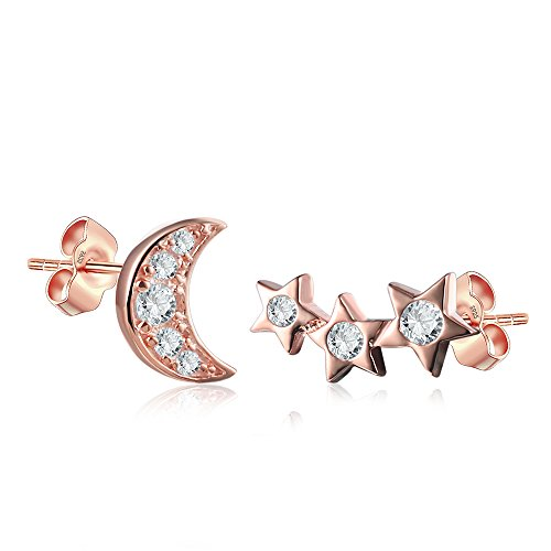(Shooting Star and Moon Stud Set in Sterling Silver 14K Rose Gold Finish )
