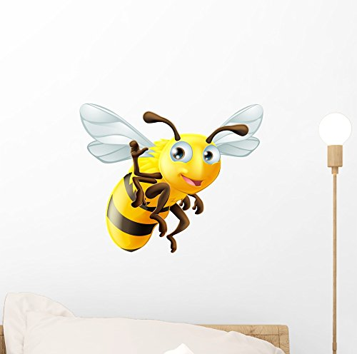 Cartoon Bee Waving Wall Decal by Wallmonkeys Peel and Stick Graphic (12 in W x 10 in H) WM346249
