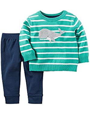 Carter's Baby Boys 2-Piece Whale Sweater And Pants Set