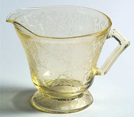 Vintage Hazel Atlas Florentine 2 Pattern Yellow Pressed Glass Creamer