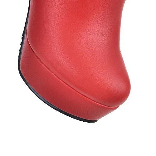 AllhqFashion Mujeres Tacón ancho Cremalleras Caña Baja Botas con Metal Rojo