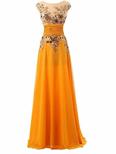 Beauty onore d' Leader donna Dress da party sera the damigella Sequine of chiffon Prom lunga abito Yellow wwnAE74x