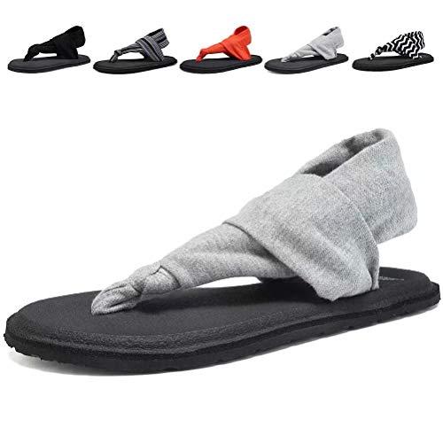 (DESTURE Womens Yoga Sling Flip Flops Mat Thong Sandals Lightweight Shoes Size 6-10,Gray,39-8M )