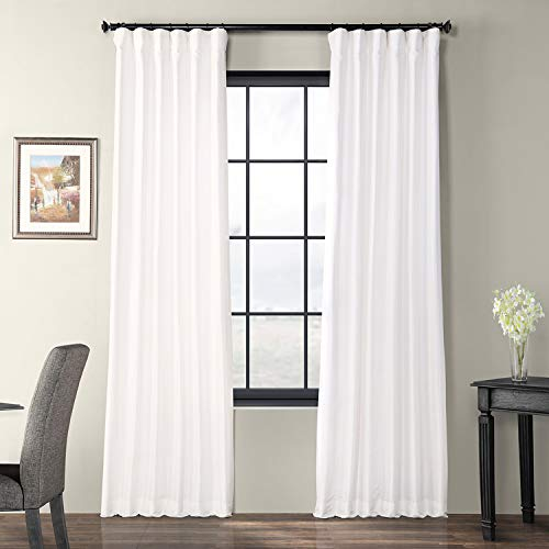 (Half Price Drapes PTCH-JTSP29-96 Faux Silk Taffeta Curtain, White )