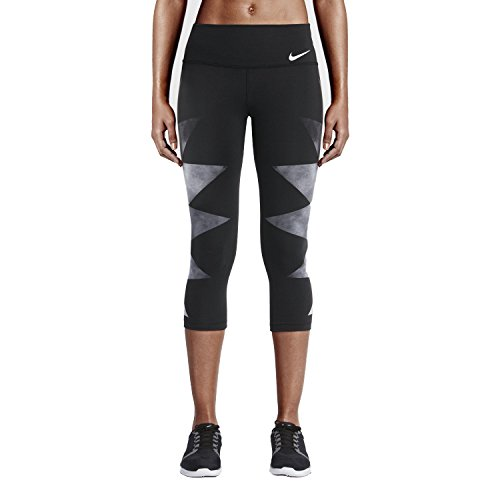 Nike Women's Legendary Tight Engineered Waterglass Printed Capris (X-Large, Black/Grey/Black)