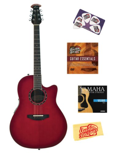 Ovation 2771AX-CCB Pro Balladeer Standard Deep Contour Acoustic-Electric Guitar Bundle with Instructional DVD, Strings, Pick Card, and Polishing Cloth - Cherry Cherry Burst