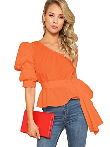 Romwe Women's One Shoulder Short Puff Sleeve Self Belted Solid Blouse Top Orange-2 ()