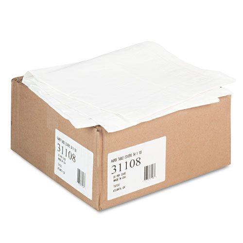 Paper Table Cover, Embossed, w/Plastic Liner, 54'' x 108'', White, 20/Carton, Sold as 1 Carton by Tatco