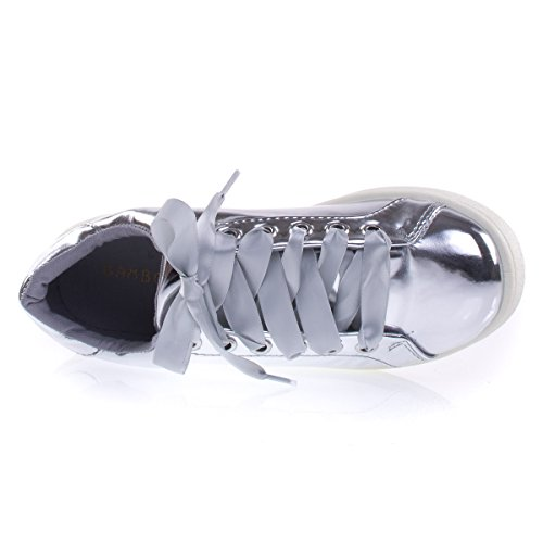 Round Toe Fashion Sneaker, Satin Ribbon Lace, Velvet, Metallic, F-Suede Silver