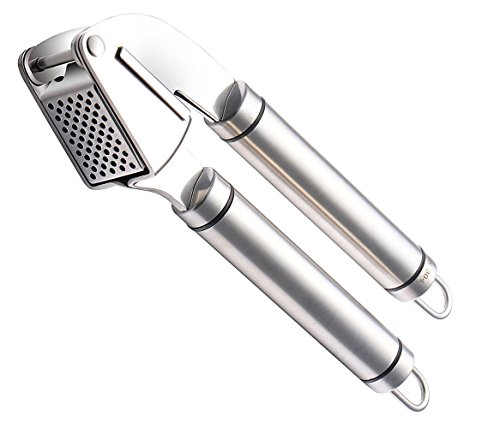 Poplar Stainless Steel Garlic Press Kitchen Tool, Food Grade Good Grips 18/10 Mincer Ginger Press