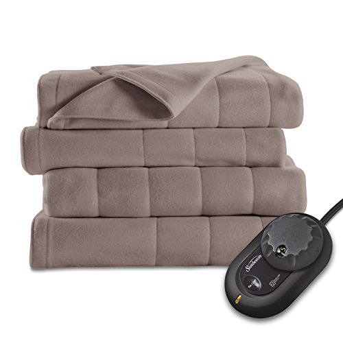 Find Bargain Sunbeam Quilted Fleece Heated Blanket, Queen, Mushroom