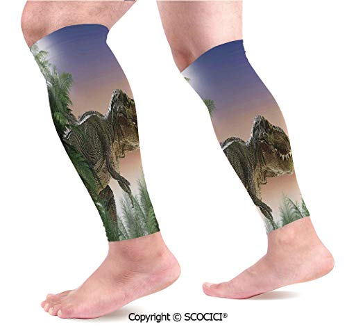 Flexible Breathable Comfortable Leg Skin Protector Sleeve Dinosaur in The Jungle Trees Forest Nature Woods Scary Predator Violence Calf Compression Sleeve]()