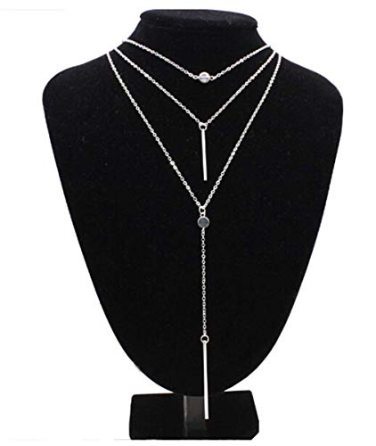 (Heyuni.Bar Pendant Necklace Multilayer Simple Layered Choker Necklace Long Chain Y Necklace for Women Girls)