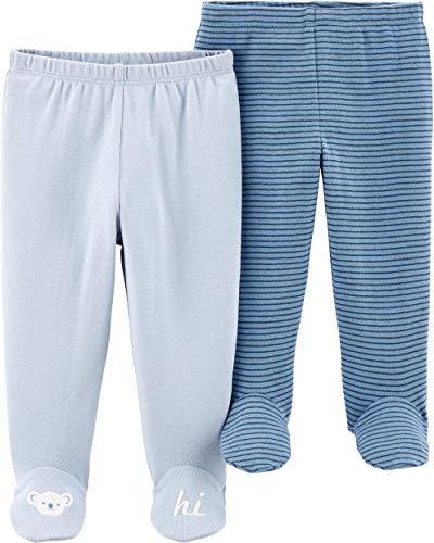 (Carter's Baby Boys 2 Pack Pants, Blue Footie, Preemie)