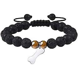 MANVEN Essential Oil Diffuser Bracelet - Dog Bone Print Bracelet for Women Men,Natural 8mm Lava Stone Beaded Bracelet,Adjustable Bracelet Dog Lovers/Dog Owner,Pet Memorial Gifts