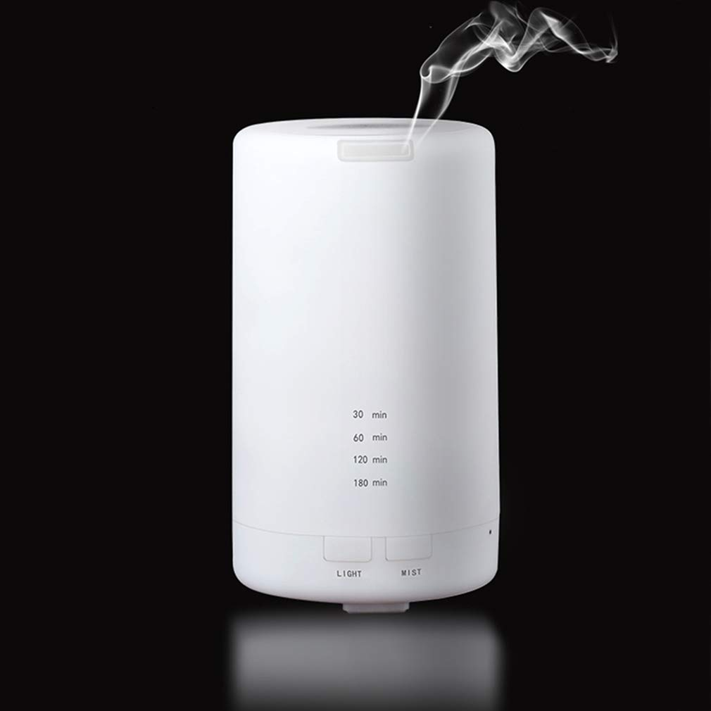 100ml USB Essential Oil Aromatherapy Diffuser Portable Mini White Humidifier Air Refresher Auto-Off Safety Switch 7 LED Light Colors for Home Office Car Vehicle Traveltravel oil diffuser (White)