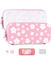 Tscope Cute Carrying Bundle Kit Case for Nintendo Switch Lite, Sweet Sakura Flowers Portable Travel Protecive Shell Storage Bag, & Glass Screen Protector, Thumb Grip Caps for NS Consolo (Pink/White)